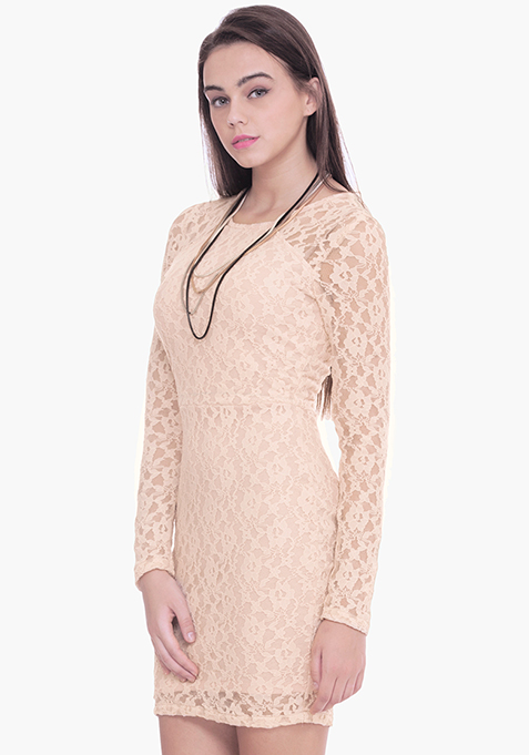 Lace Love Bodycon Dress - Nude