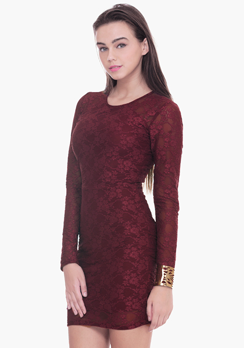 Lace Love Bodycon Dress - Oxblood