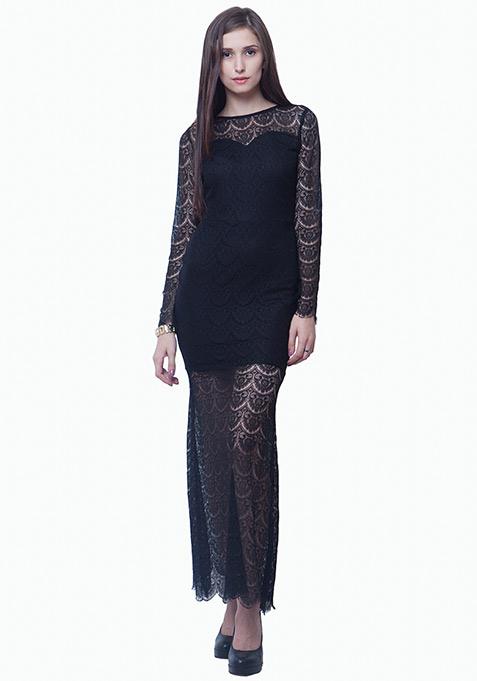 Class Up Lace Maxi Dress - Black
