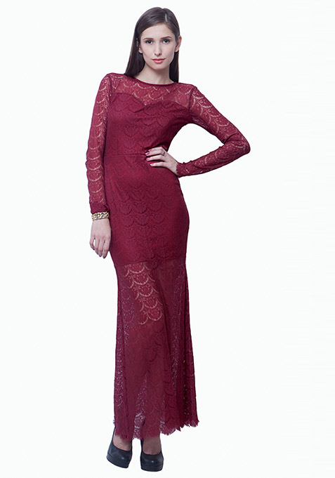 Class Up Lace Maxi Dress - Marsala