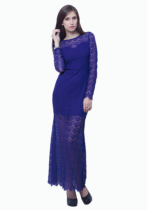 Class Up Lace Maxi Dress - Blue