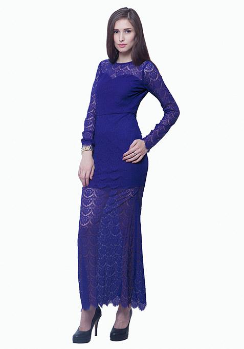 Class Up Lace Maxi Dress - Blue