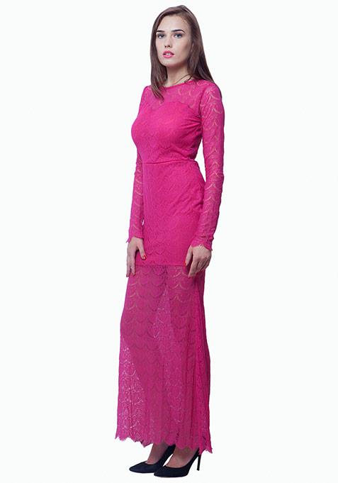 Class Up Lace Maxi Dress - Pink