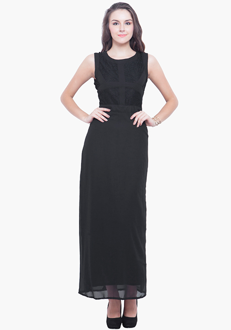 Laced Case Maxi Dress - Black