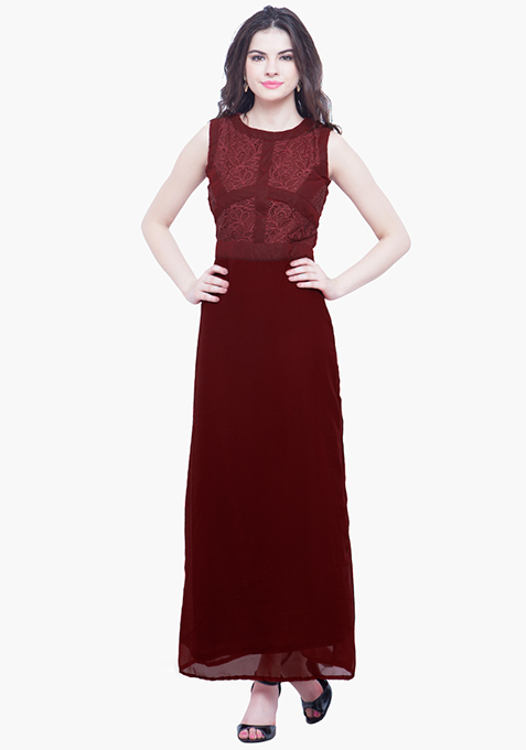 Laced Case Maxi Dress - Oxblood