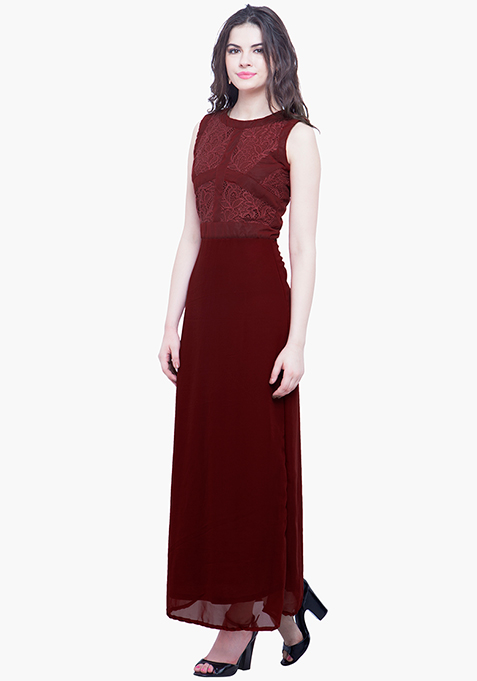Laced Case Maxi Dress - Oxblood