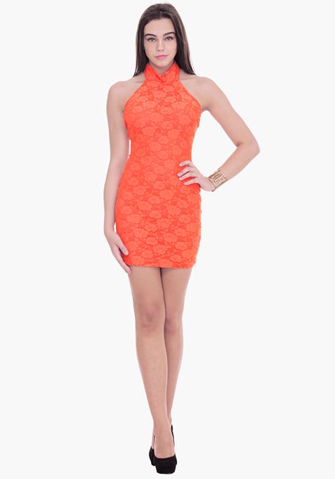 Lace Grace Halter Dress - Coral