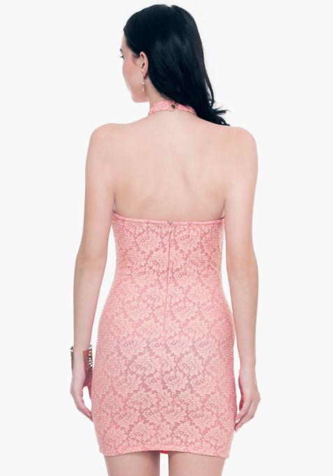 Lace Grace Halter Dress - Pink