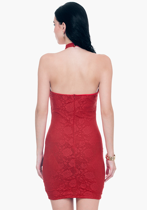 Lace Grace Halter Dress - Red