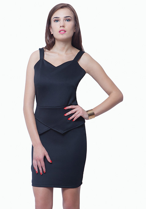 Peplum Please Bodycon Dress - Black
