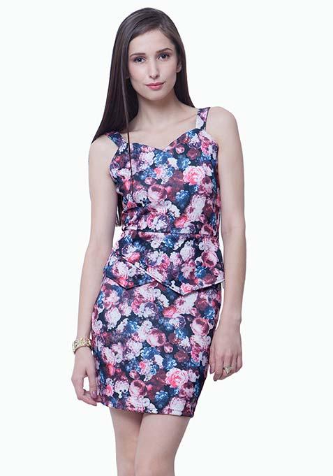 Peplum Please Bodycon Dress - Floral
