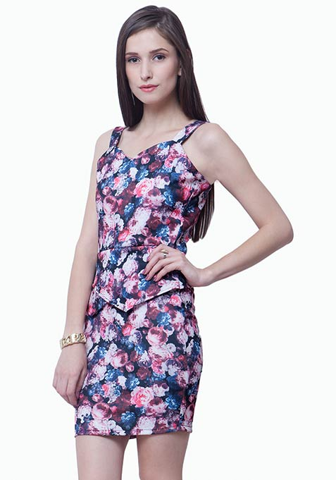Peplum Please Bodycon Dress - Floral