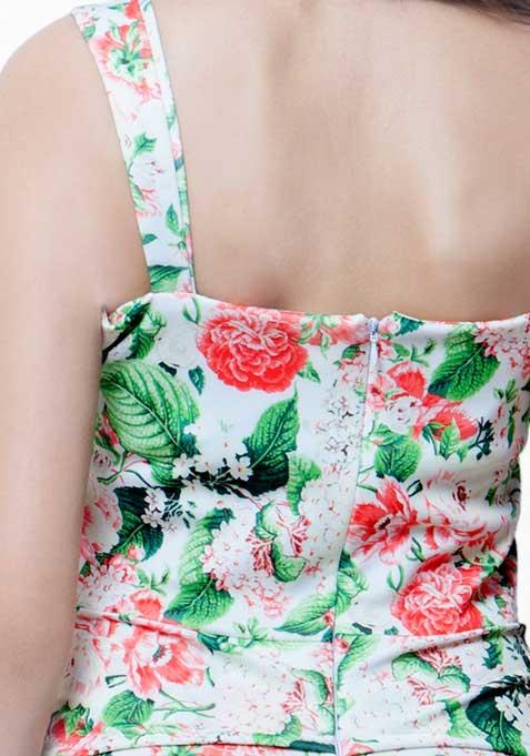 Peplum Please Bodycon Dress - Tropical