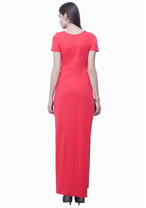 High Slit Maxi Top - Coral