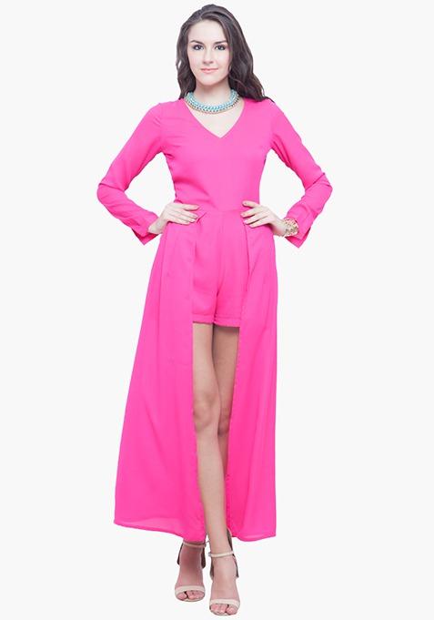 Pink Maxi Playsuit Dress