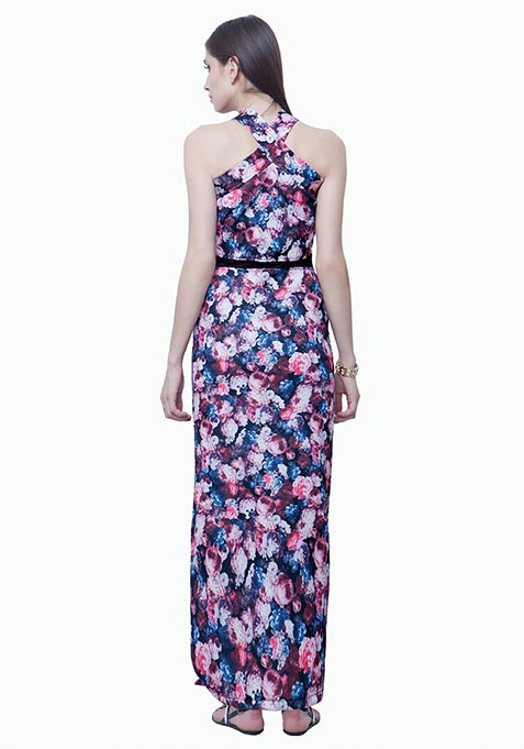Cross Mesh Scuba Maxi Dress - Floral