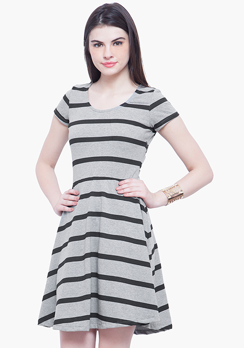 Spring Flare Skater Dress - Stripe