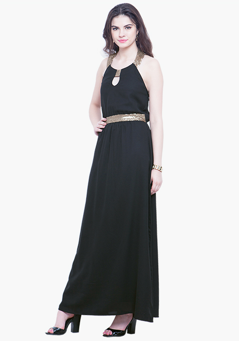 Black Goddess Maxi Dress