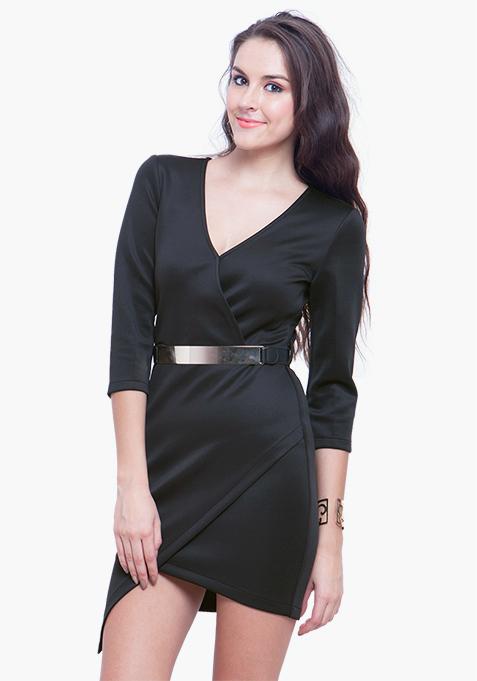 Asymmetric Bodycon Dress – Black