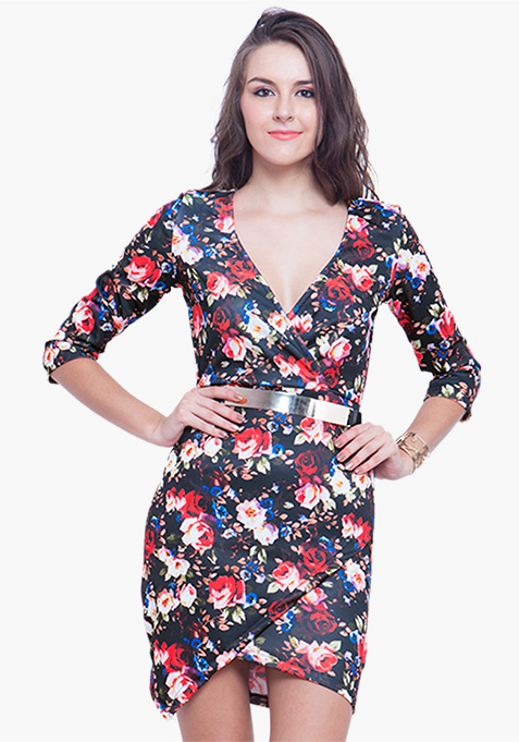 Asymmetric Bodycon Dress – Floral