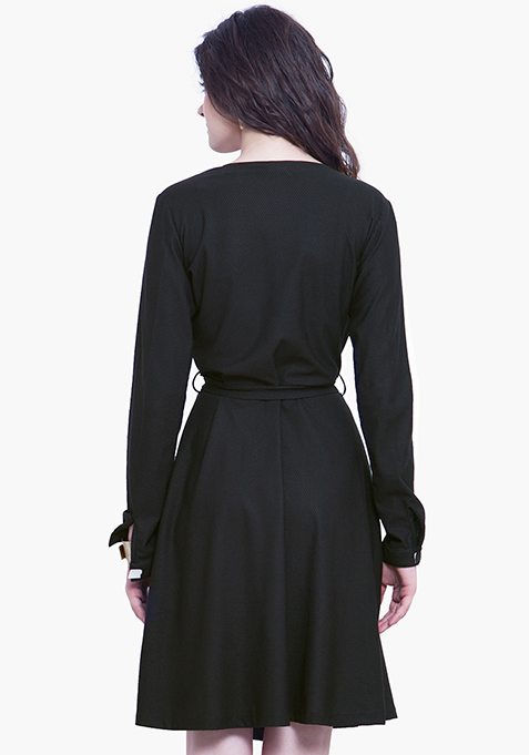 Wrap Skater Dress - Black