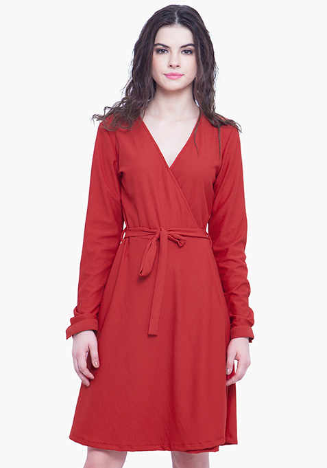 Wrap Skater Dress - Red