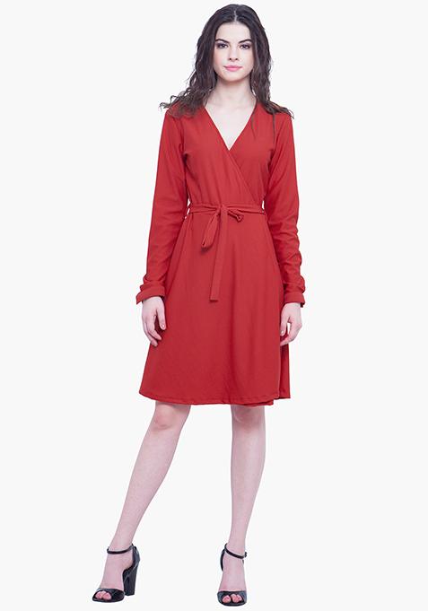Wrap Skater Dress - Red