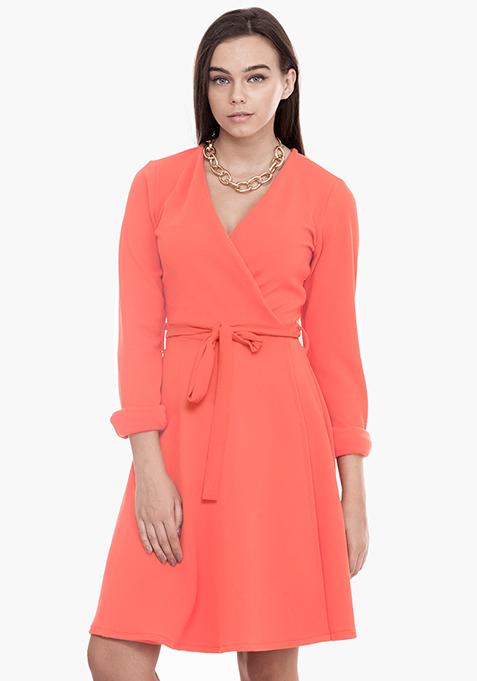 Wrap Skater Dress - Orange