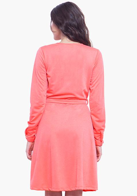 Wrap Skater Dress - Coral