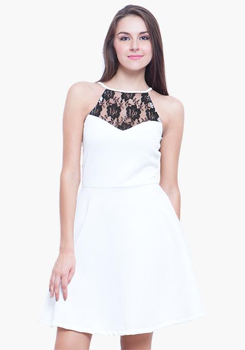 Scuba Swoon Skater Dress - White