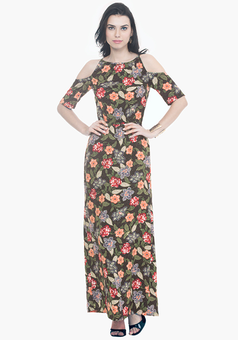Cold Shoulder Maxi Dress – Floral