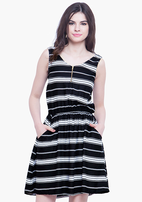 Flare Game Skater Dress - Stripe
