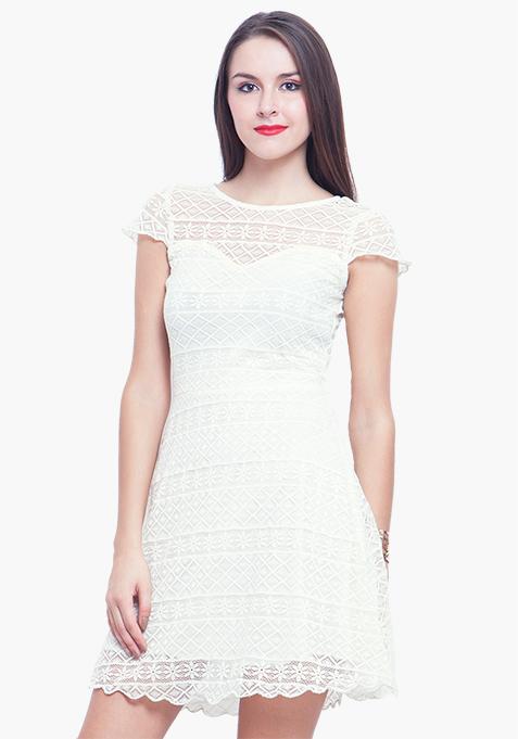 Lace Delight Skater Dress - White