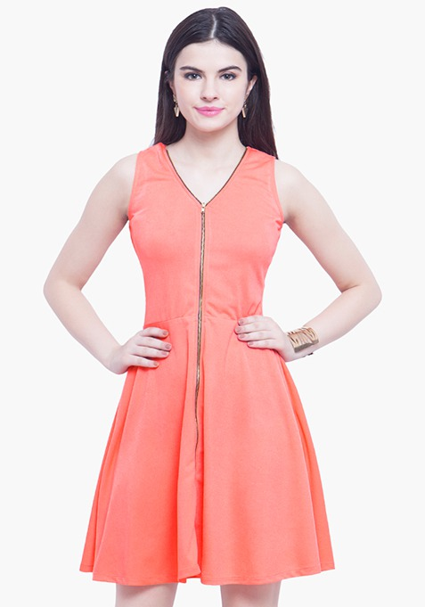 Zipped Zing Skater Dress - Coral