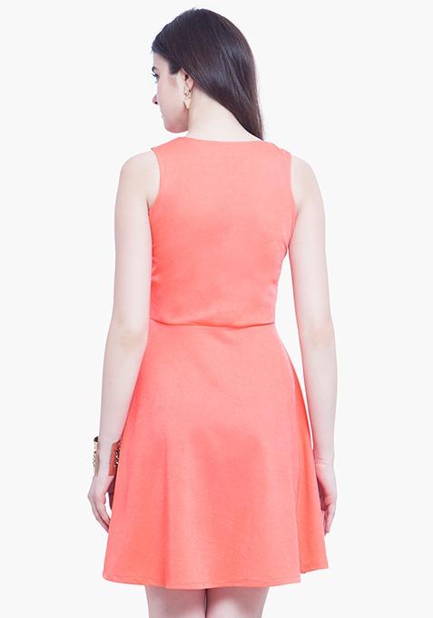 Zipped Zing Skater Dress - Coral