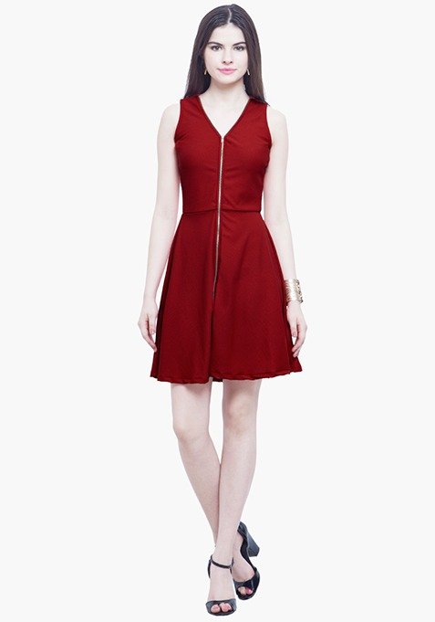Zipped Zing Skater Dress - Red