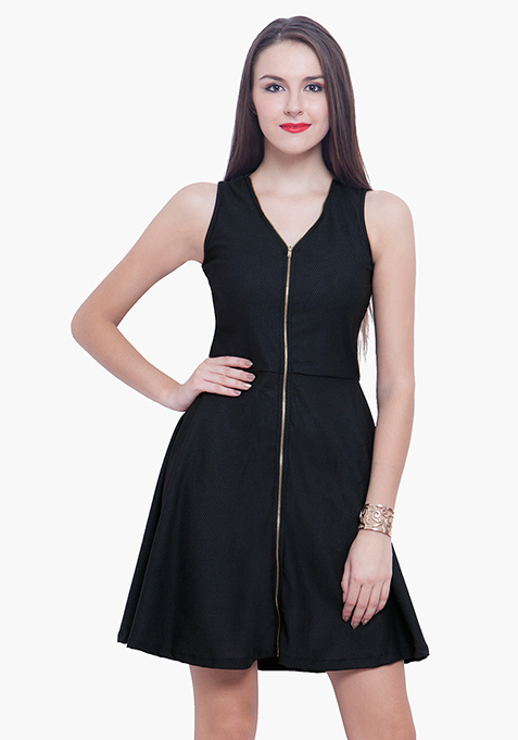 Zipped Zing Skater Dress - Black