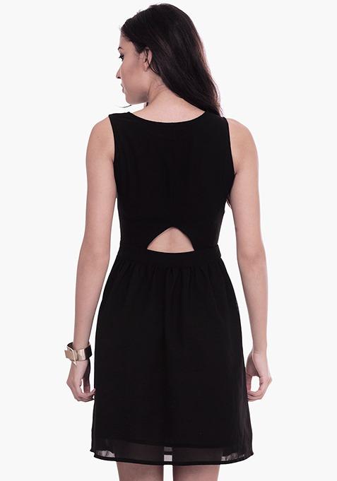 Peek-a-Boo Black Skater Dress