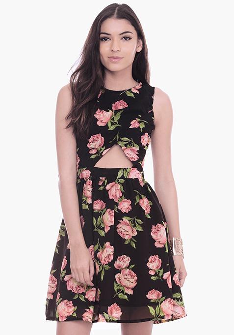 Peek-a-Boo Floral Skater Dress