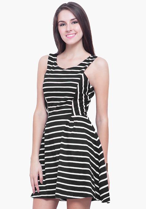 Striped Jersey Skater Dress - Black