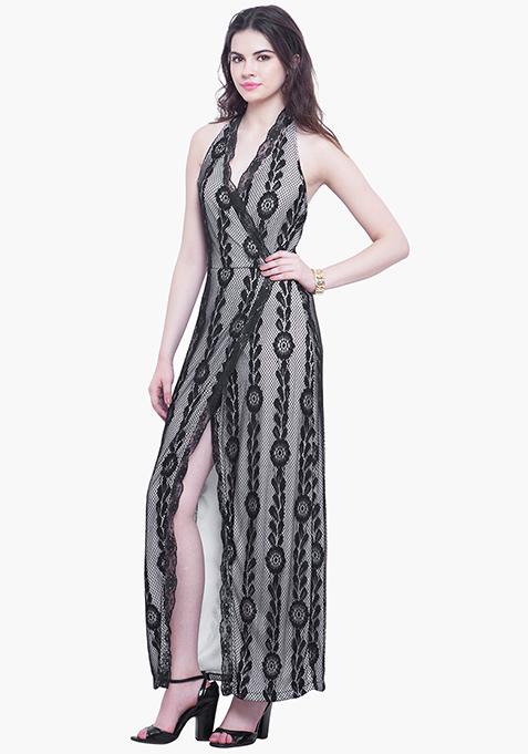 Scallop Halter Maxi Dress - Black