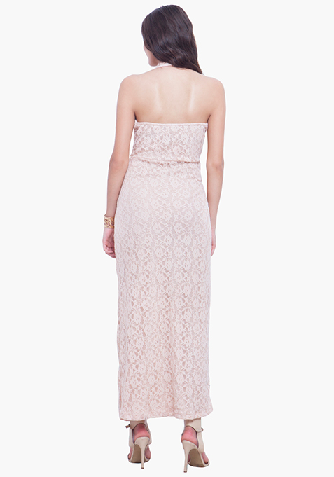 Scallop Halter Maxi Dress - Blush
