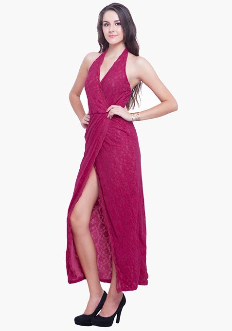 Scallop Halter Maxi Dress - Pink