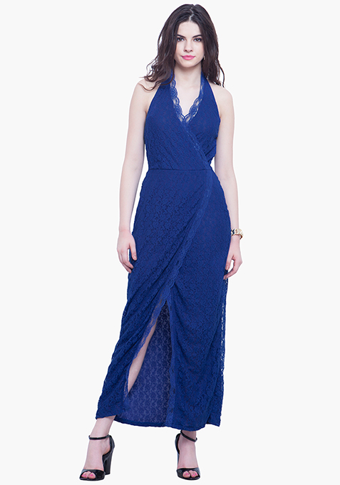 Scallop Halter Maxi Dress - Blue