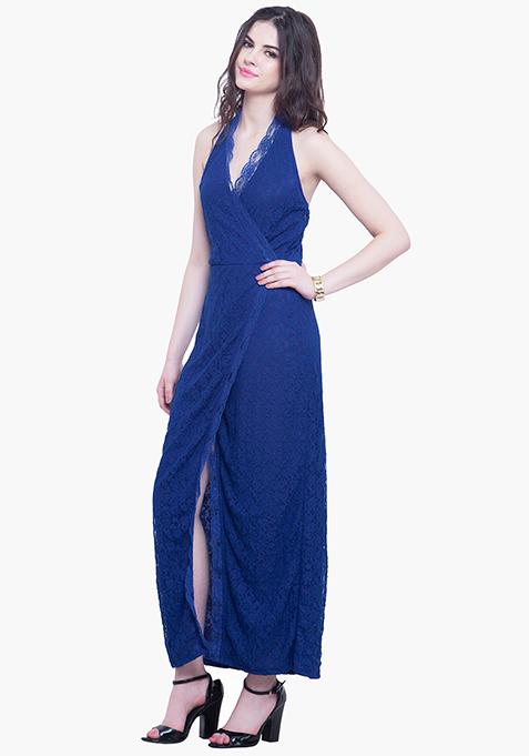 Scallop Halter Maxi Dress - Blue