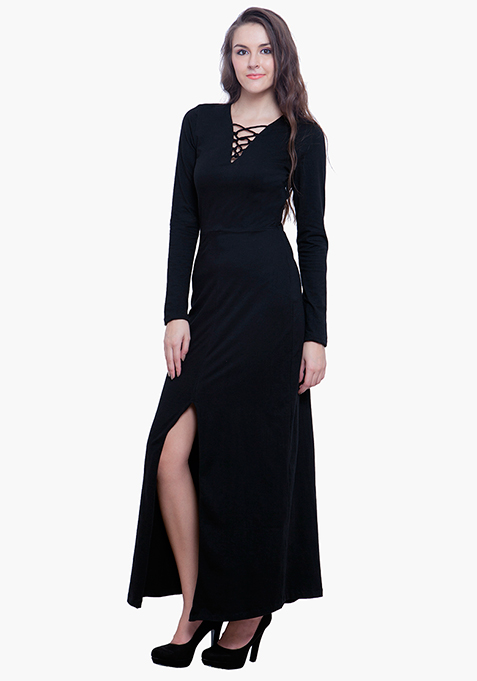 Lace Up Maxi Dress - Black