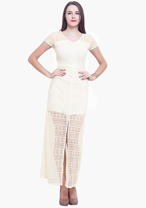 Death By Lace Maxi Dress - White