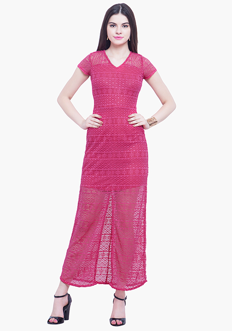 Death By Lace Maxi Dress - Pink