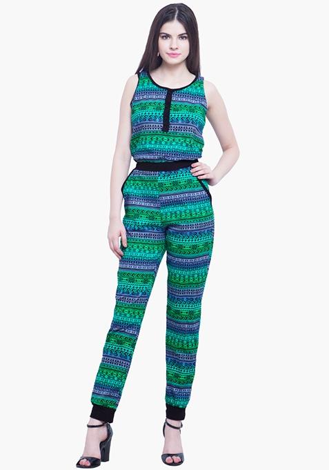 Aztec Maze Jumpsuit -Green