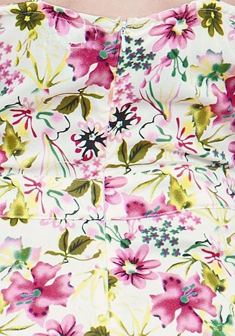 White Floral Culotte Jumpsuit